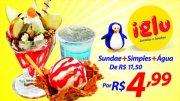 Venha conhecer esse Pinguim! Sundae + sorvete simples + água (200ml) de R$11,50 por R$4,99