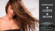 Fique ainda mais linda! 50% de desconto em hidratação + corte + escova da Embelezaria. De R$95,00 por 47,50.